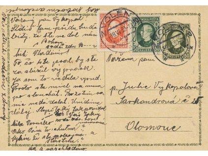 1939, DR Zvolen, dopisnice 50h Hlinka, hezká frankatura