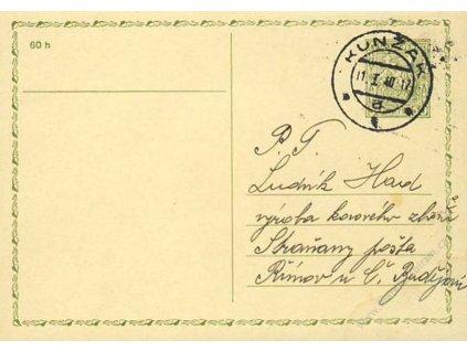 1940, DR Kunžak 11.1., dopisnice 50h Znak,