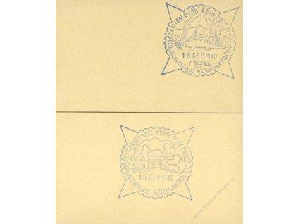 1940, Pamětní razítka, 2 vizitkové karty s razítky