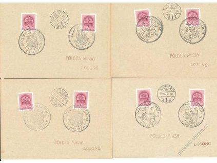 1940, Visszatért, 4 karty, každé razítko jiné, dv