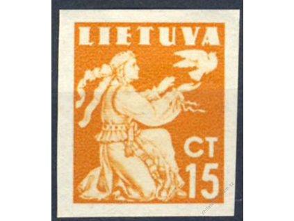 Lietuva, 1940, 15C nezoubkovaná, * po nálepce