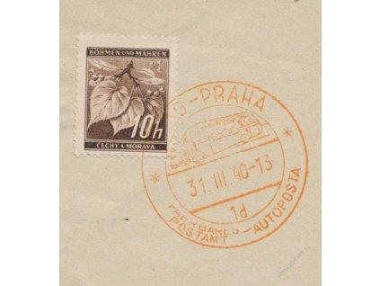 1940, Praha, Autopošta 31.3.40 1d, výstřižek, stopy provozu