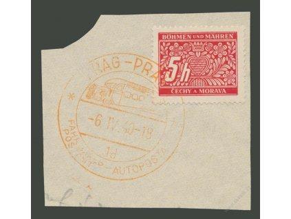 1940, Praha, Autopošta 6.4.40 1d, výstřižek, utržený růžek