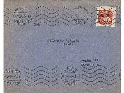 1940, DR Praha, tiskopis GD-OT zaslaný v místě