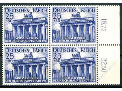 1941, 25Pf Brandenburská brána, 4blok, **