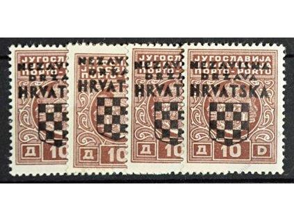 1941, 10Din doplatní, 4 ks, MiNr.5, **