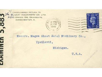 1941, DR Manchaster, dopis zasl. do USA, cenzura