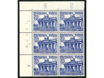 1941, 25Pf Brandenburská brána, roh. 6blok, **
