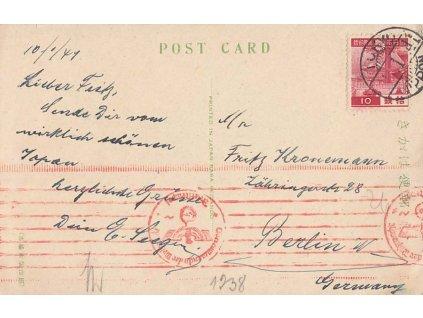 Japonsko, 1941, DR Tokio, pohlednice zasl. do Berlína, cenzura