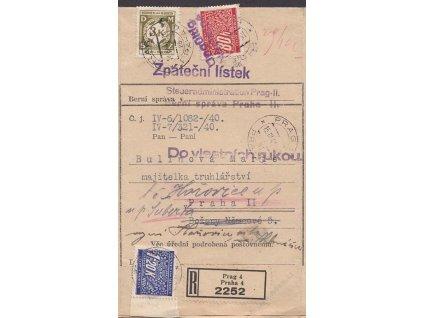 1941, DR Praha, R-úřední dopis, pestrá frankatura, skládaný