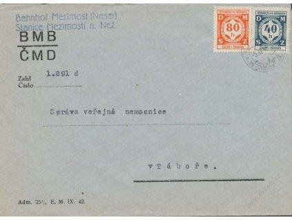 1941, Nádražní služební dopis, DR Mezimostí nad Nežárkou