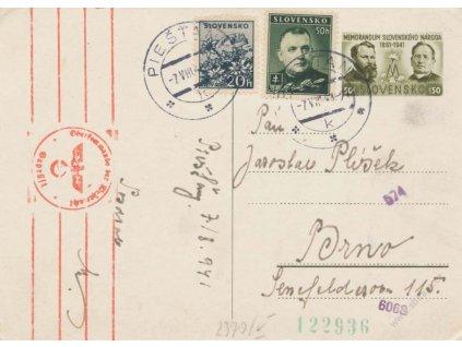 1941, DR Piešťany, celinová pohlednice 50h Memorandum