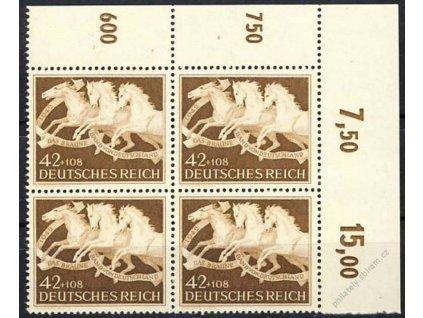 1942, 42Pf Hnědá stuha, Nr.815, ** , rohový 4blok