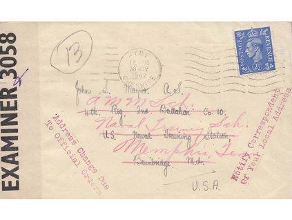 1942, DR Hyde, dopis PP zaslaný do USA, dosíláno, cenzura
