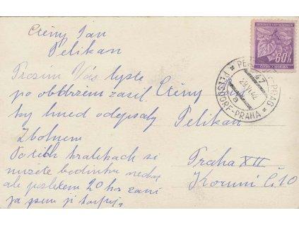 1942, DR Pelsdorf-Praha No.47, pohlednice zasl. do Prahy