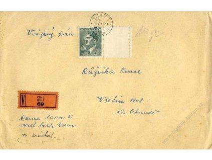 1943, DR Zlín, Cenný dopis vyfr. zn. 10K Hitler