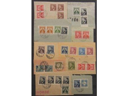 1943, 10 ks výstřižků se smíšenými frankaturami