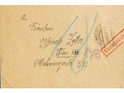 1943, DR Reingers, Nachgebühr, dopis