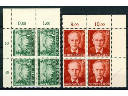 1943, 6-12Pf série, ** , rohové 4bloky