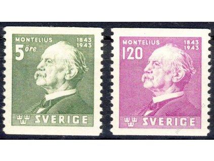 1943, 5-120Öre série, MiNr.302-3, * po nálepce