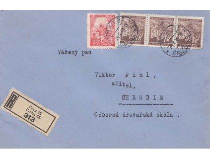 1943, DR Praha, R-dopis zasl. do Chrudimi