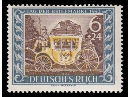 1943, 6Pf Kočár, DV - tečka pod I, MiNr.828III, * po nálepce