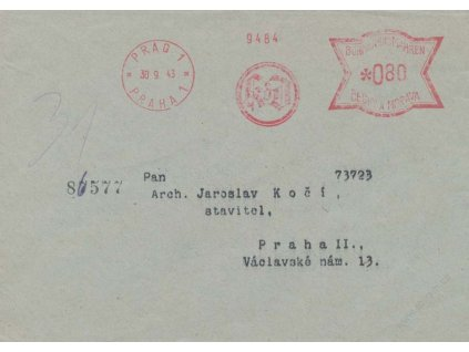 1943, DR Praha, KdD, frankotyp, obálka zasl. v Praze