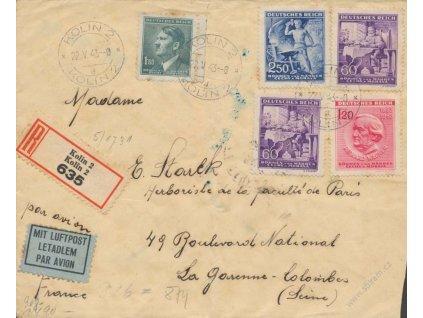 1943, DR Kolín, R-let. dopis zasl. do Francie, horší jakost