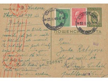1943, DR Skopie, dopisnice, hezká frankatura, cenzura