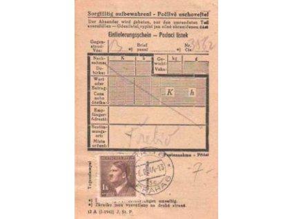 1944, Podací lístek vyfr. zn. 1K Hitler
