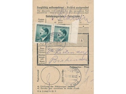 1944, KT Birkenau, podací lístek na balíček do KT, horší jakost