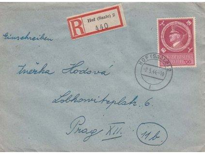 1944, DR Hof (Saale), R-dopis, zasl. do Prahy, lehká omačkání