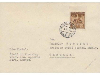 1944, Heřmanův Městec, dopis, zasl. do Chrudimi, FDC
