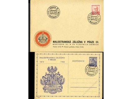 1945, Malostranská záložna, dopisnice + obálka
