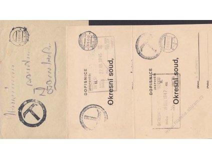 1945, DR Žamberk, 3 ks nevyplacených celistvostí