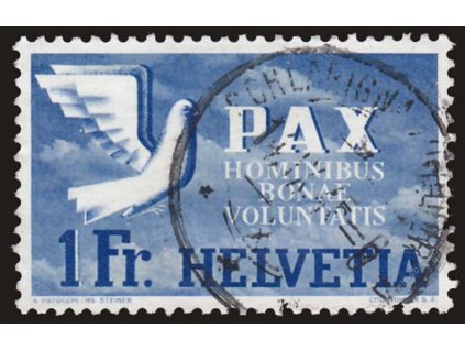 1945, 1Fr PAX, MiNr.455, razítkované