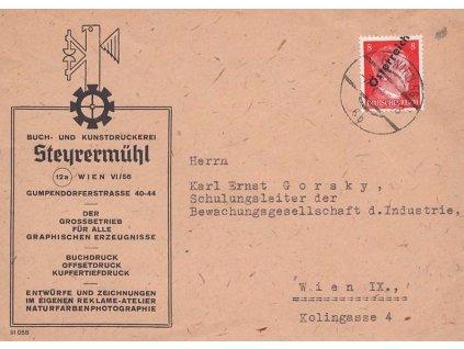 1945, DR Wien, firemní dopis zasl. v místě