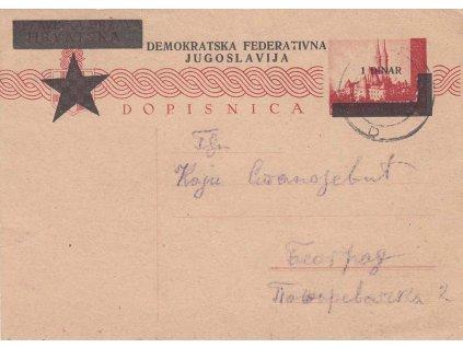 1945, DR Tuslo, dopisnice MiNr.P 89 1Dinar/2K, zasl. do Záhřebu