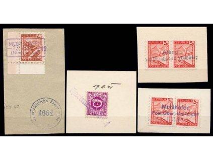 1945, 4 ks výstřižků s razítky