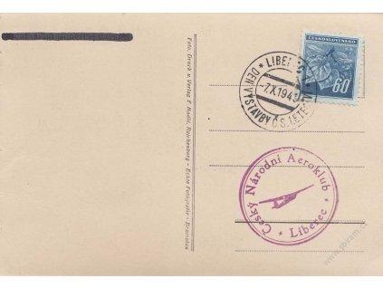 1945, Liberec, Den čs. letectví, pohlednice, omačkání