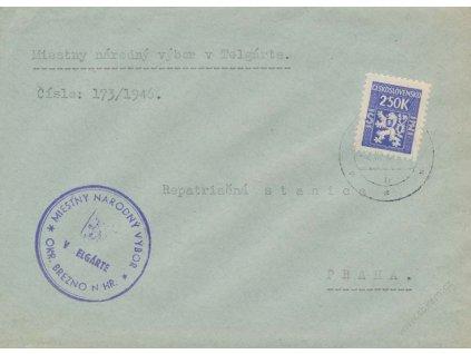 1945, (Služební I.,), DR Telgrát, dopis vyfr. zn. 2.50K