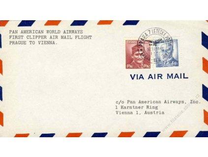 1946, 1.let Praha-New York 17.6.1946 letecký dopis
