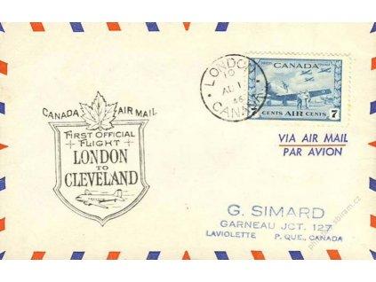 Kanada, 1946, DR London, 1.let London-Cleveland, let. dopis