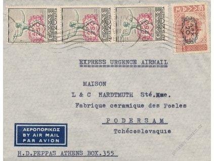 1946, DR Athina, let. dopis zaslaný do ČSR