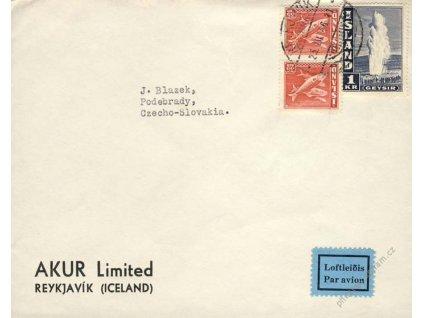 1946, DR Reykjavík, let. dopis, zasláno do ČSR