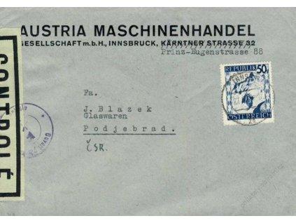 1946, DR Innsbruck, firemní dopis zasl. do ČSR