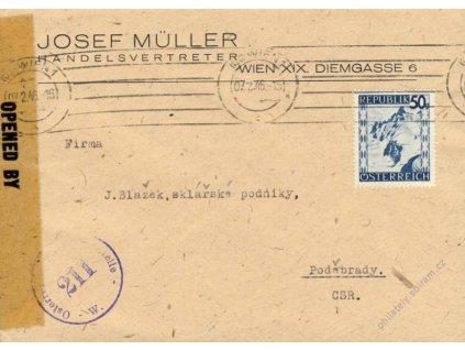 1946, DR Wien, firemní dopis zasl. do ČSR, cenzura