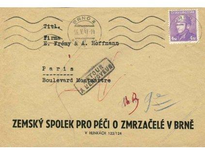 1947, DR Praha, dopis zasl. do Paříže, vráceno zpět
