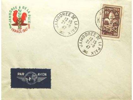 1947, DR Jamboree de la Paix, obálka se 3 razítky, neprošlé