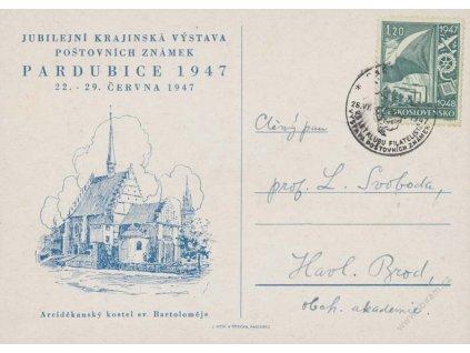 1947, Pardubice, Výstava známek, pamětní karta, prošlé